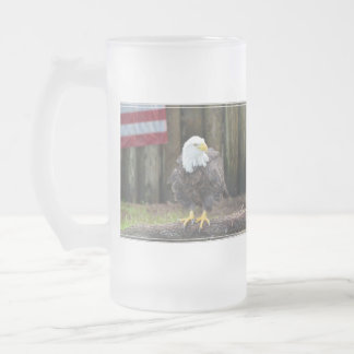 American Bald Eagle Perched on a Log 16 Oz Frosted Glass Beer Mug