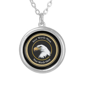 American Bald Eagle Rope Shield Round Pendant Necklace