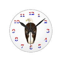 American Bald Eagle Round Clock