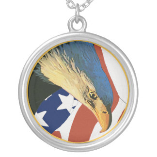 American Bald Eagle Round Pendant Necklace