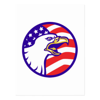 American Bald eagle screaming with USA flag Postcards