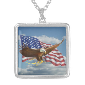 American Bald Eagle Silver Plated Necklace