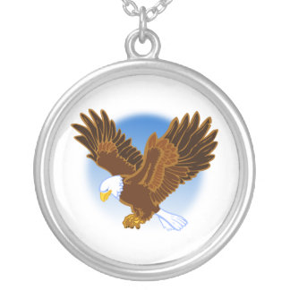 American Bald Eagle Spreading it's Wings Silver Plated Necklace