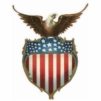 American Bald Eagle, stars & stripe atop of shield Cutout