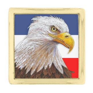 American Bald Eagle Gold Finish Lapel Pin