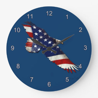 American Bald Eagle & US Flag Patriotic Art Clock