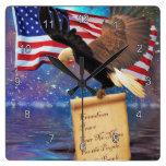 American Bald Eagle & US Flag Patriotism Art Clock