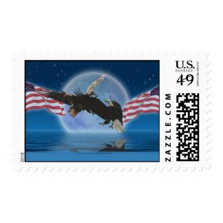 AMERICAN BALD EAGLE & US FLAG Postage Stamps