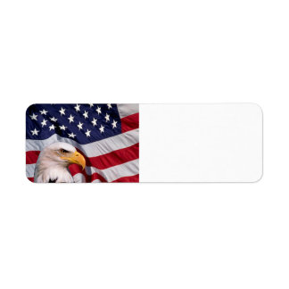 American Bald Eagle with Flag Background Label