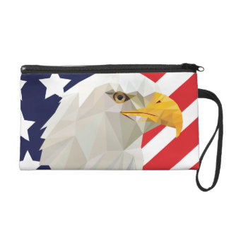 American bald eagle with flag wristlet bag