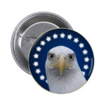 American Bald Eagle With Stars Pinback Button