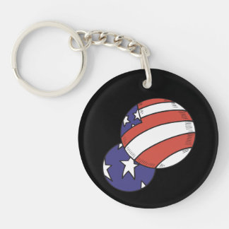 American Balls Double-Sided Round Acrylic Keychain