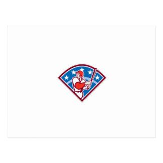 American Baseball Batter Hitter Bat Diamond Retro Post Cards