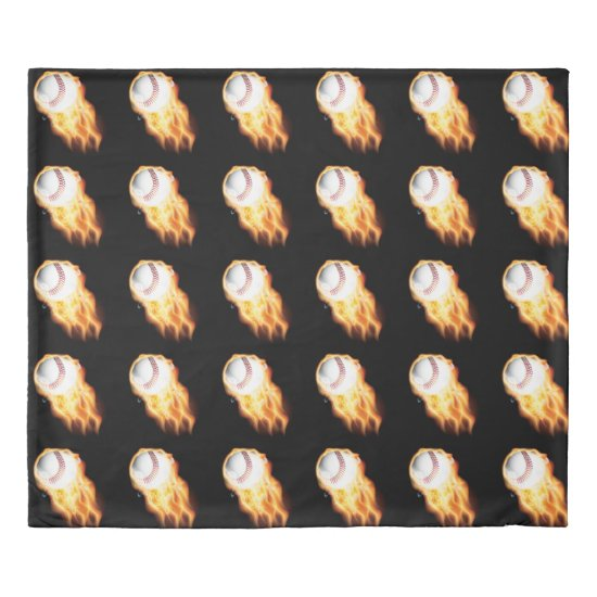 American Baseball Flaming Black Duvet Cover