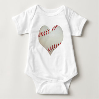 American Baseball In A Heart Shape Baby Bodysuit