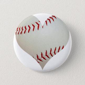 American Baseball In A Heart Shape Button