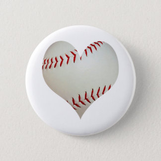 American Baseball In A Heart Shape Button