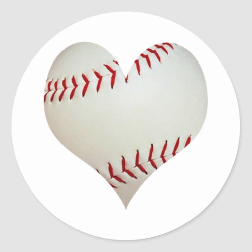 American Baseball In A Heart Shape Classic Round Sticker