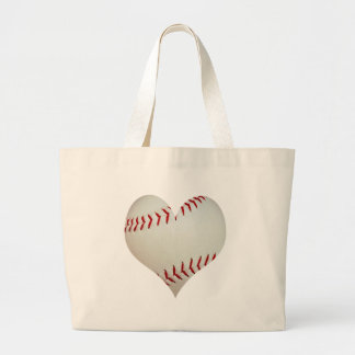 American Baseball In A Heart Shape Large Tote Bag