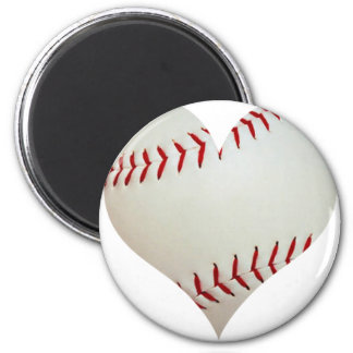 American Baseball In A Heart Shape 2 Inch Round Magnet