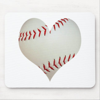 American Baseball In A Heart Shape Mouse Pad