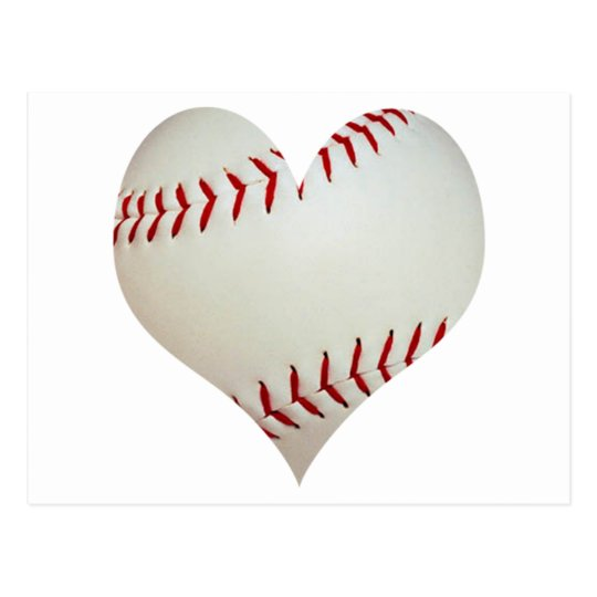 American Baseball In A Heart Shape Postcard