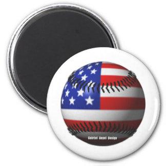 American Baseball 2 Inch Round Magnet