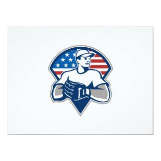 American Baseball Pitcher Gloves Retro Card
