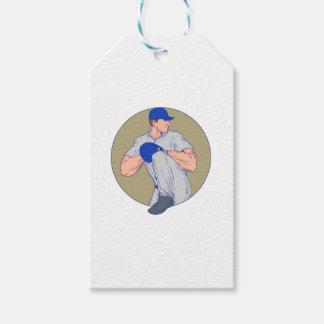 American Baseball Pitcher Throw Ball Circle Drawin Gift Tags