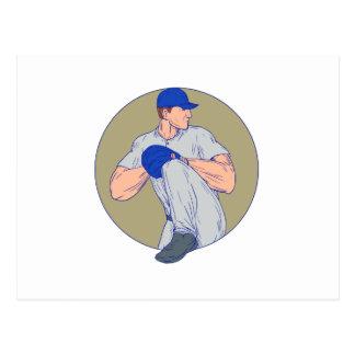 American Baseball Pitcher Throw Ball Circle Drawin Postcard