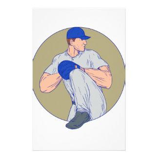 American Baseball Pitcher Throw Ball Circle Drawin Stationery