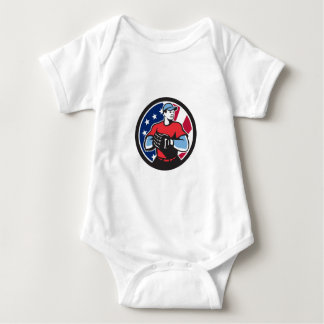 American Baseball Pitcher USA Flag Icon Baby Bodysuit