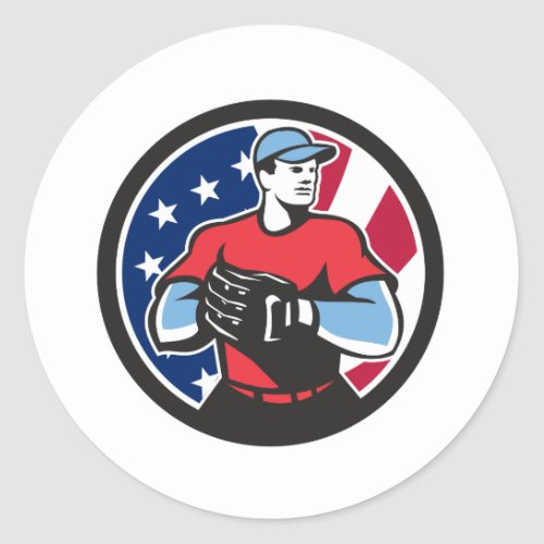 American Baseball Pitcher USA Flag Icon Classic Round Sticker