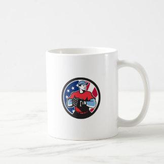 American Baseball Pitcher USA Flag Icon Coffee Mug