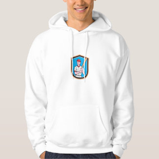 American Baseball Player Bat Shield Cartoon Hoodie