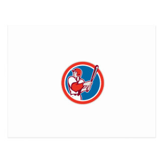 American Baseball Player Batter Hitter Circle Retr Post Card