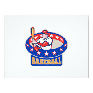 American Baseball Player Batting Cartoon Card