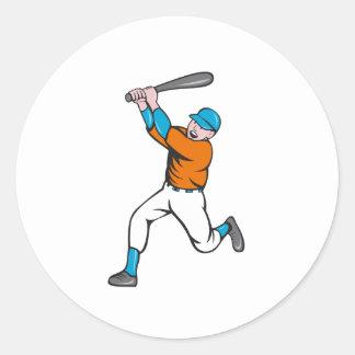 American Baseball Player Batting Homer Cartoon Classic Round Sticker