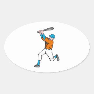 American Baseball Player Batting Homer Cartoon Oval Sticker