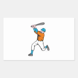 American Baseball Player Batting Homer Cartoon Rectangular Sticker