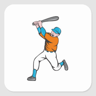 American Baseball Player Batting Homer Cartoon Square Sticker