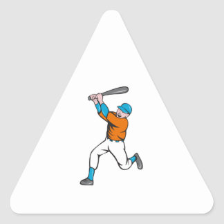 American Baseball Player Batting Homer Cartoon Triangle Sticker