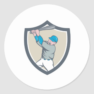 American Baseball Player Batting Homer Crest Carto Classic Round Sticker