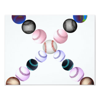 American Baseballs In The Shape Of An X 4.25x5.5 Paper Invitation Card