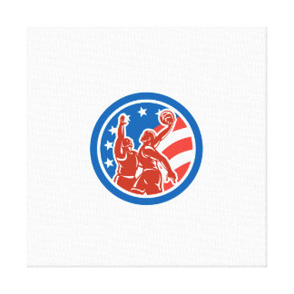 American Basketball Player Dunk Block Circle Retro Stretched Canvas Prints