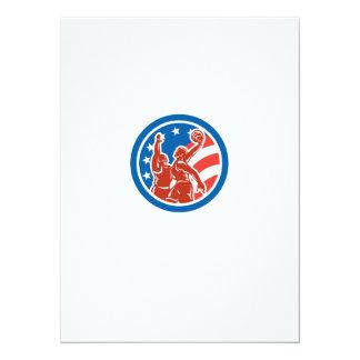 American Basketball Player Dunk Block Circle Retro 14 Cm X 19 Cm Invitation Card