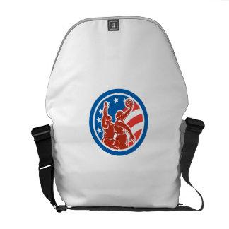 American Basketball Player Dunk Block Circle Retro Courier Bag