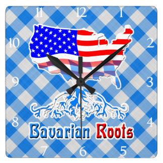 American Bavarian Roots Square Clock