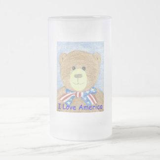 American Bear, I Love America Frosted Glass Beer Mug