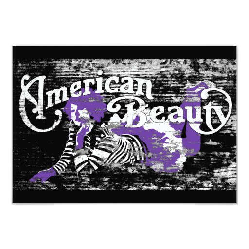 "american beauty 3.5"" x 5"" invitation card"